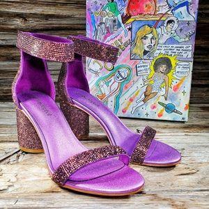 Jeffrey Campbell Laura Purple Bling Block Heels